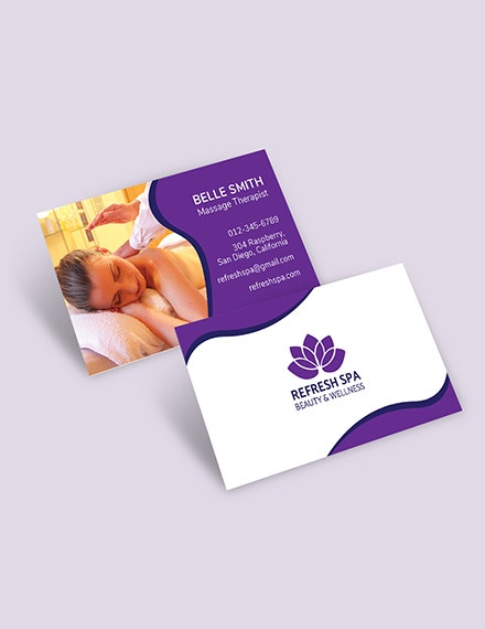 spa center business card template in psd