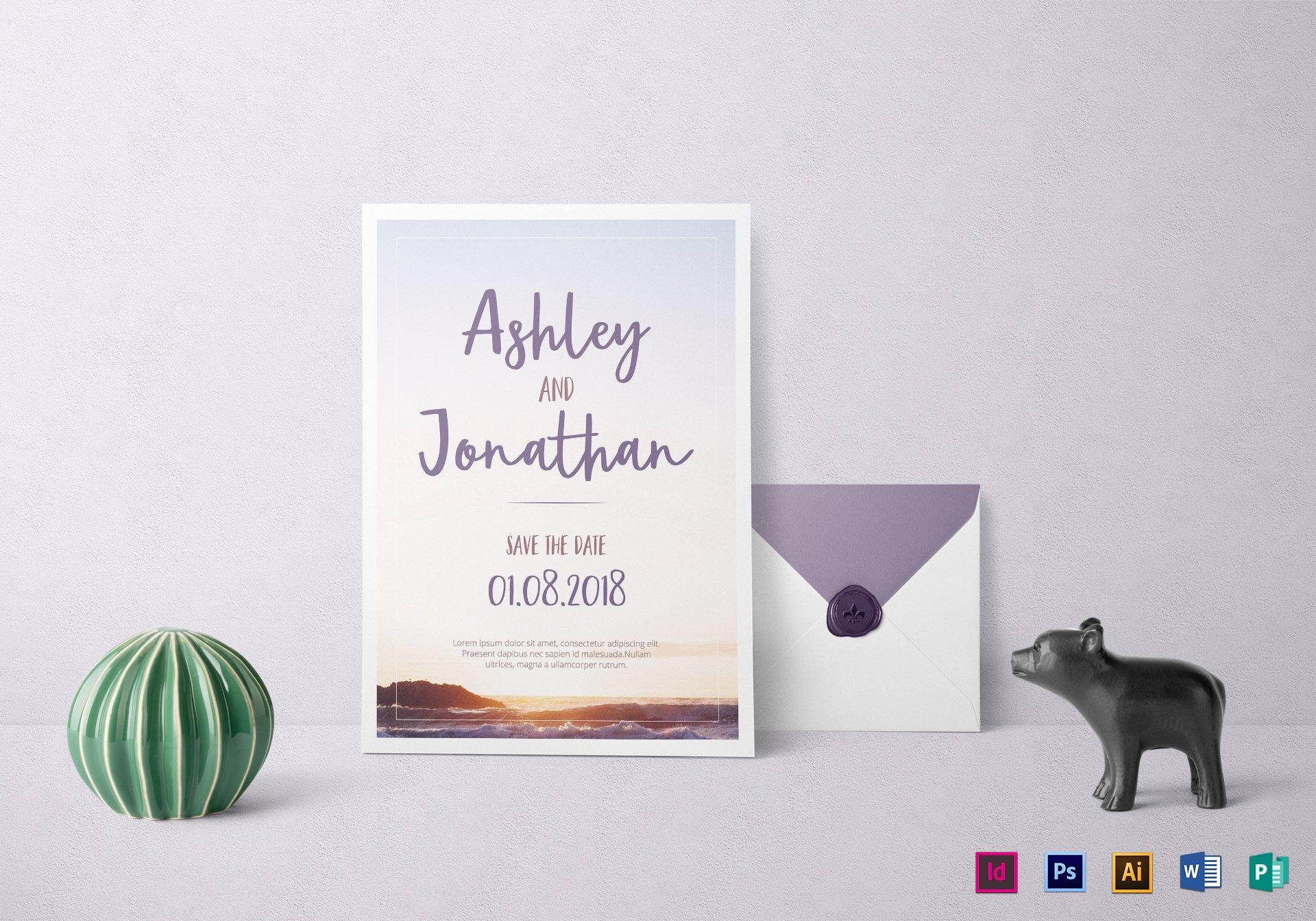 special beach wedding invitation template