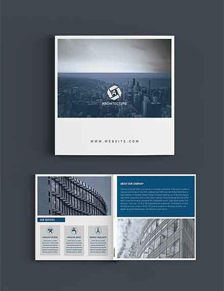 square architect brochure template in illustrator