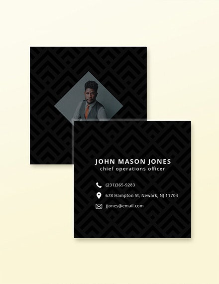 square business card template in illustrator
