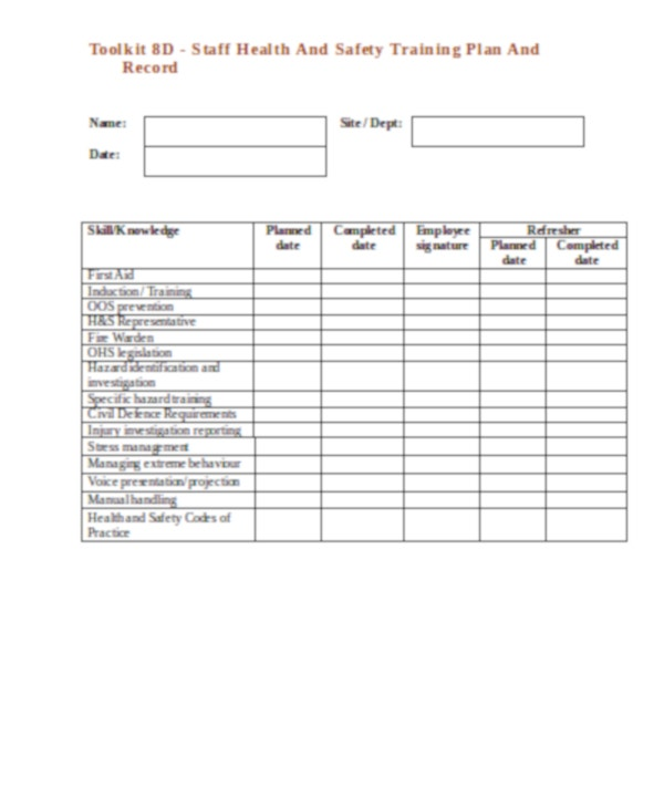 staff health and safety training plan and record