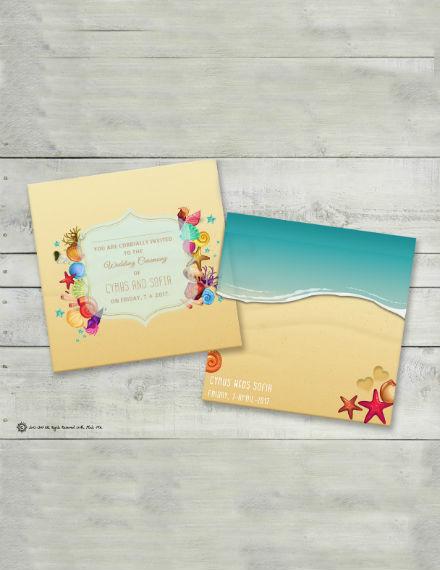 stars shells the beach wedding invitation