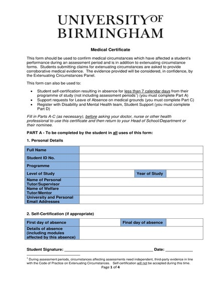 student medical certificate sample