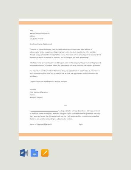 subcontractor appointment letter template