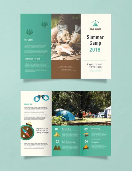 summer camp green brochure example
