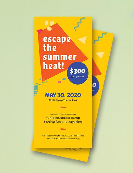 summer camp rack card template in psd