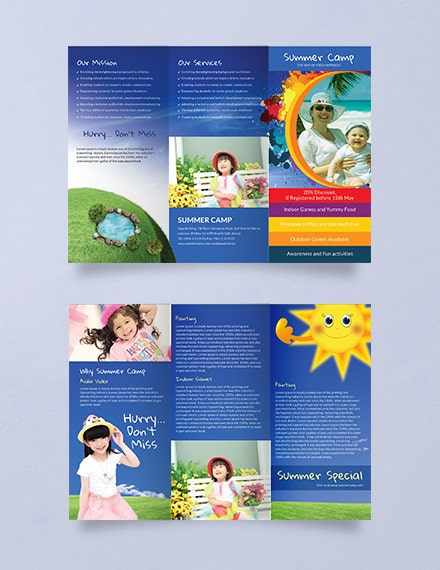 summer camp trifold brochure psd template