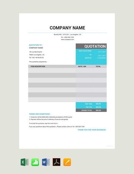 taxi quotation template