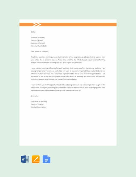 teacher resignation letter for personal reasons template1