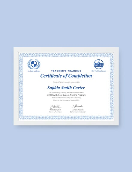 teachers completion certificate