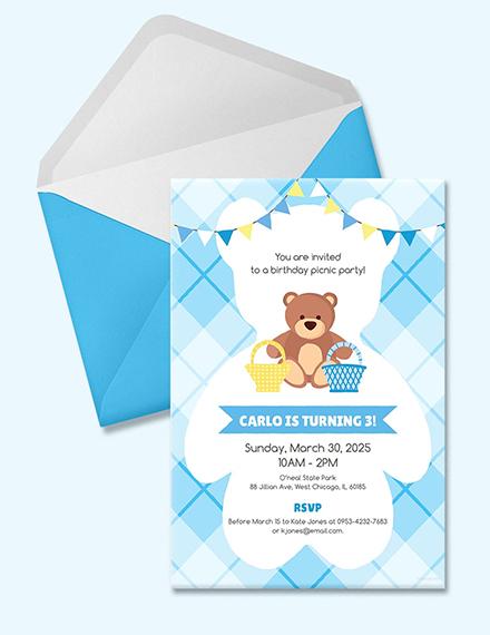 teddy bear picnic birthday invitation template