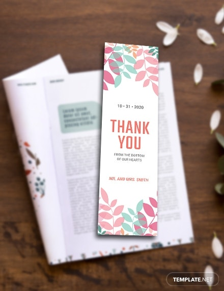 thank you bookmark template in psd