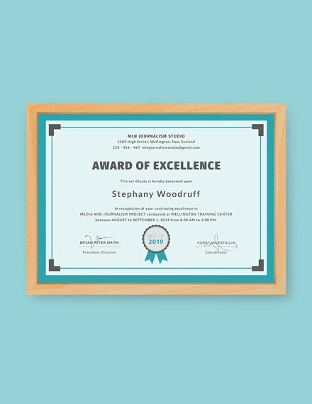 training excellence certificate