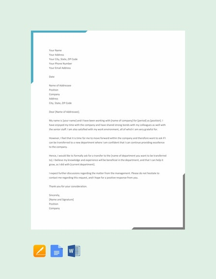 transfer letter from one department to other template
