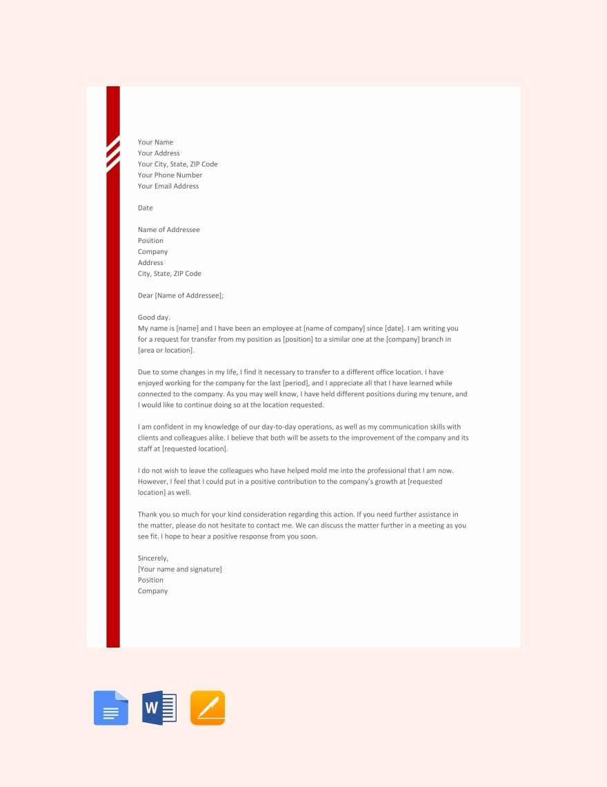44+ Transfer Letter Templates - PDF, Google DOC, Excel, Apple Pages
