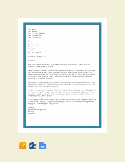 transfer request letter due to health problem template1