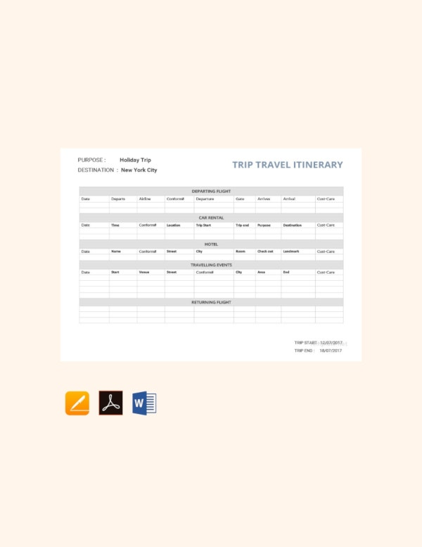 travel trip itinerary template