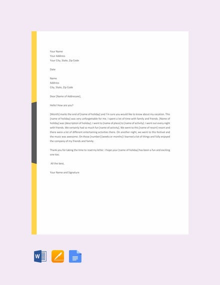 16+ Vacation Letter Templates - PDF, DOC | Free & Premium