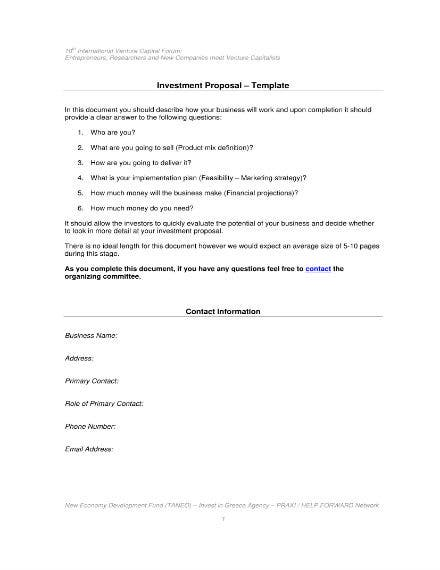 venture capital investment proposal template