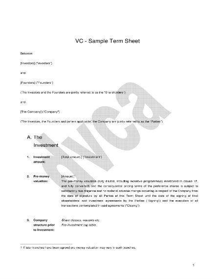 venture capital term sheet