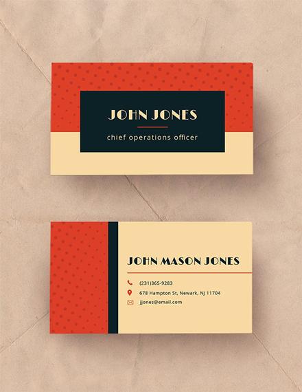 vintage business card template in illustrator