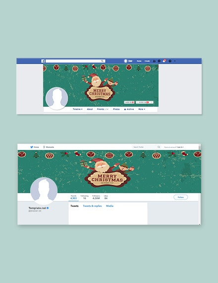 vintage christmas facebook and twitter cover page