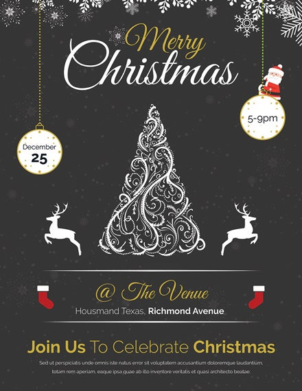 vintage merry christmas flyer template1x