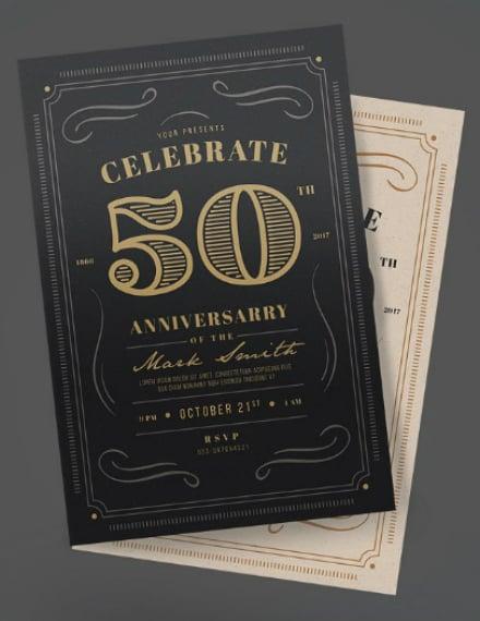 vintage typographic anniversary invitation example