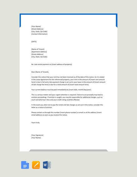 warning letter to tenant for late payment