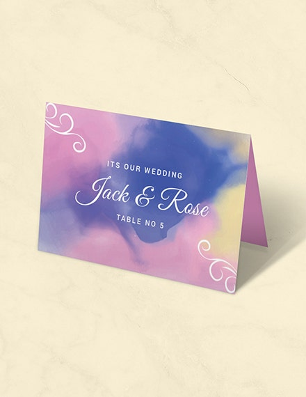 watercolor place card template in illustrator