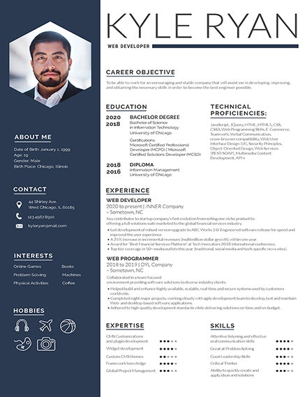 Web Developer Photo Resume Template
