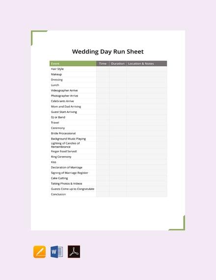 wedding day run sheet