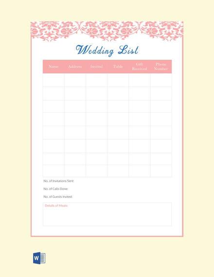 wedding-list-template