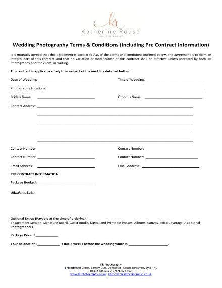 Wedding Photography Contract Sample