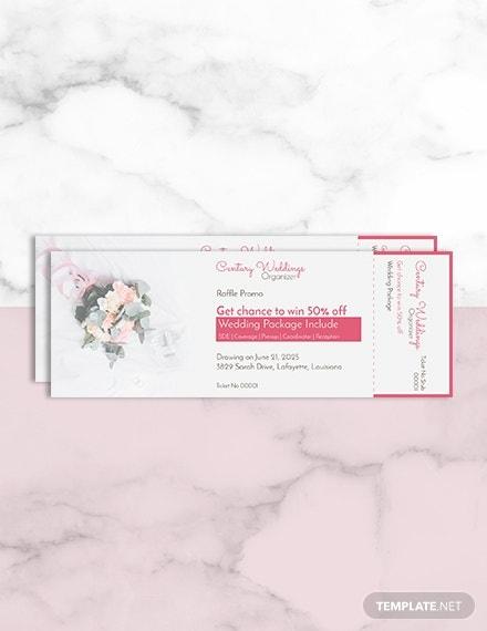 wedding raffle ticket template psd