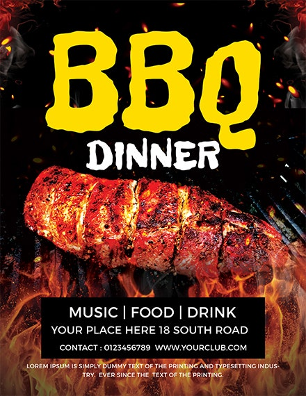 weekend dinner bbq flyer example