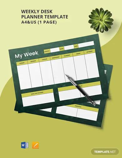 weekly desk planner template