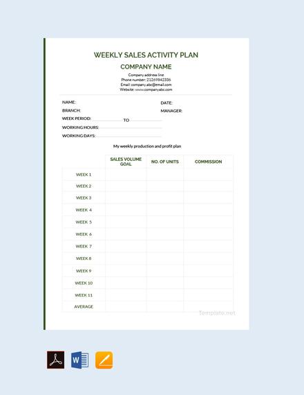 weekly sales activity plan sample