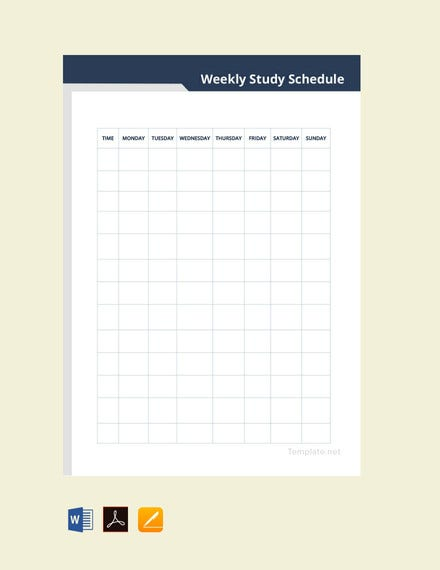 weekly study schedule template
