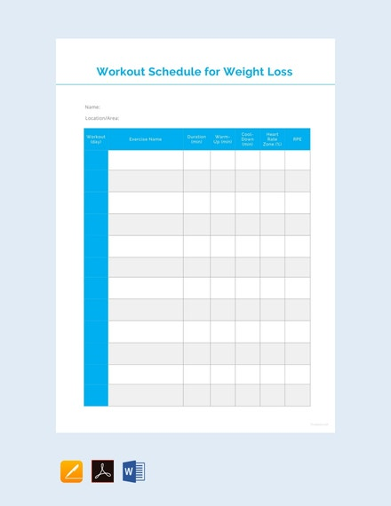 weight loss schedule template