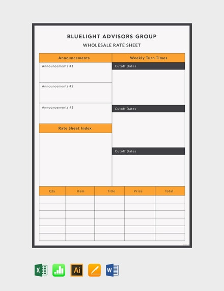 wholesale rate sheet template