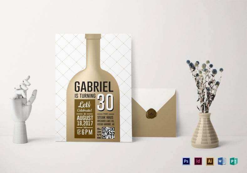 wine bottle adult birthday party invitation template 788x552