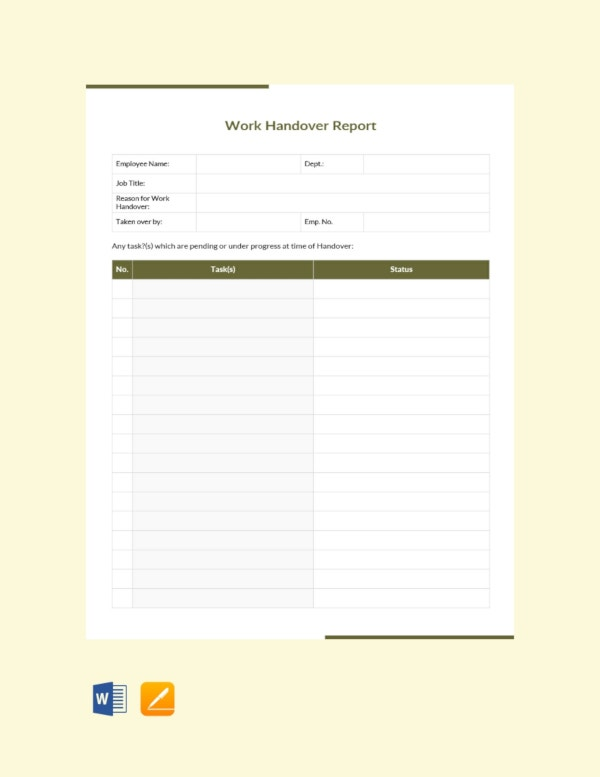 work handover report template