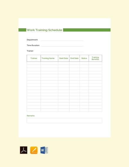 work training schedule