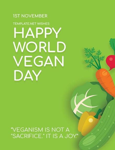 world vegan day greeting card psd template