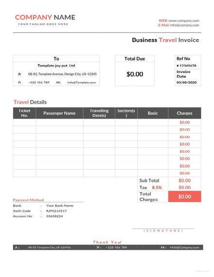 business travel invoice template 1 440x622