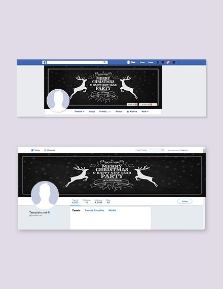 e chalkboard christmas facebook and twitter cover page