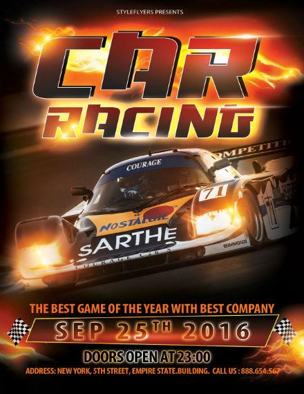 free car racing flyer