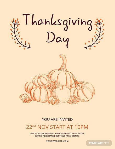 free minimal thanksgiving flyer