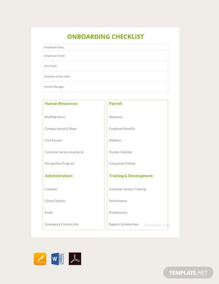 free onboarding checklist